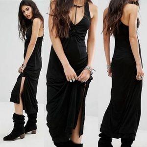 NWOT Free People Solid Sin City Black Midi Dress L